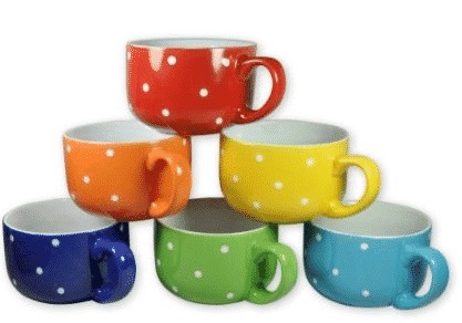 amazon 6 large sized 14 ounce colored ceramic coffee soup mugs only 1249 this n that with olivia - Colorful Mugs