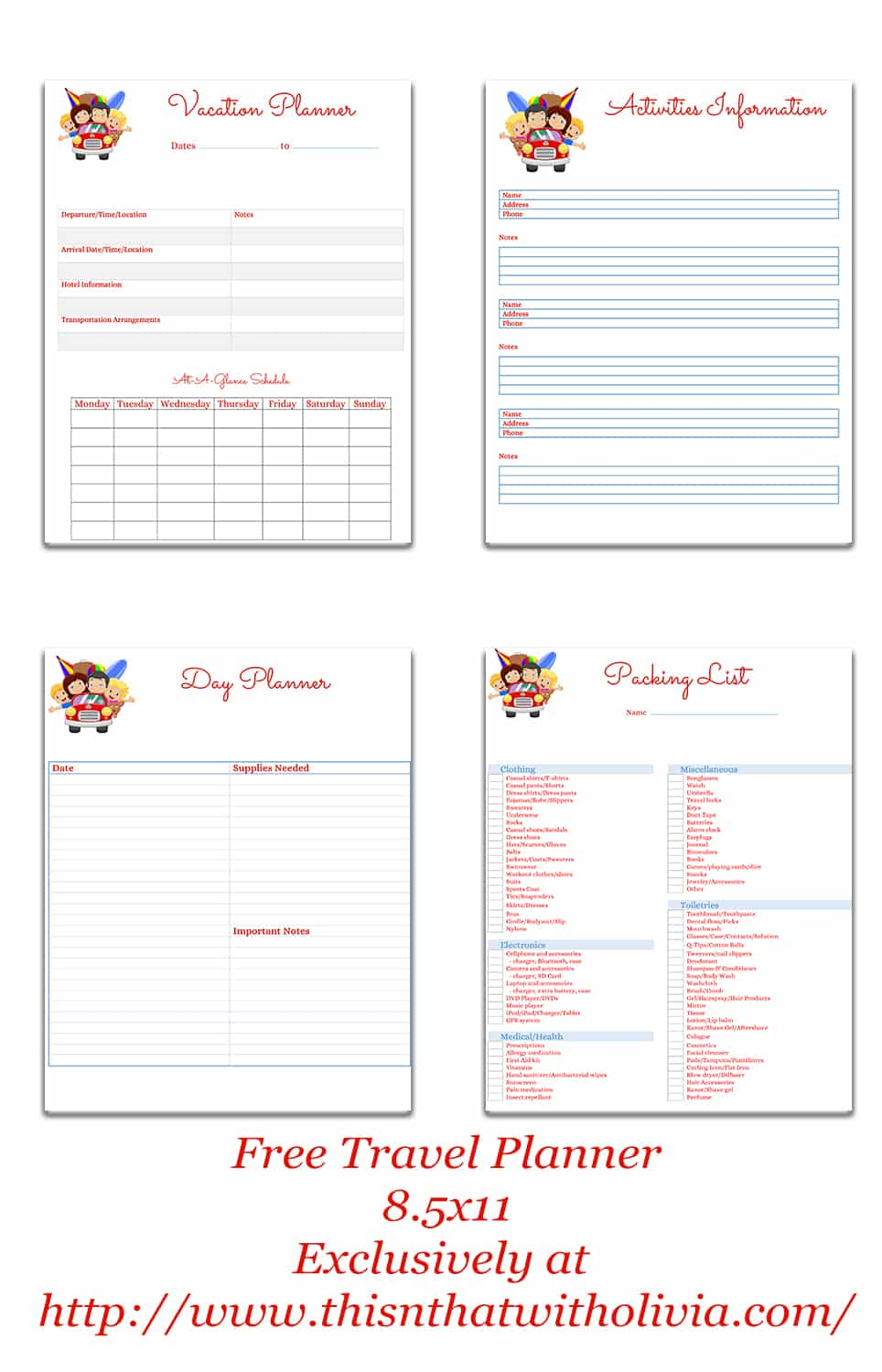 Free printable vacation planner vacation for For planner