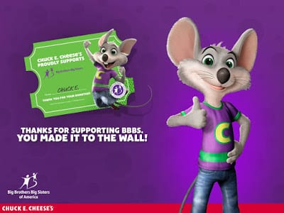 Chuck E. Cheese partners with Big Brothers Big Sisters