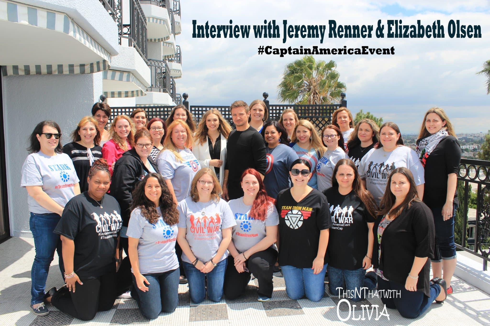 Interview with Jeremy Renner + Elizabeth Olsen #CaptainAmericaEvent