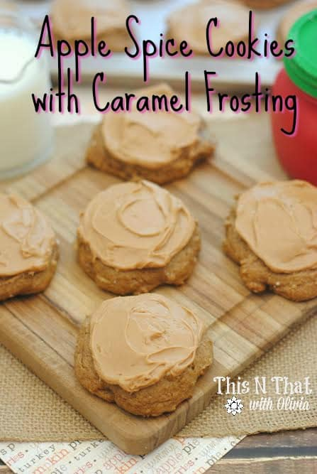 Apple Spice Cookies with Caramel Apple Frosting | ThisNThatwithOlivia.com