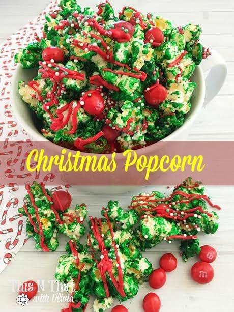 Homemade Christmas Popcorn Recipe | ThisNThatwithOlivia.com