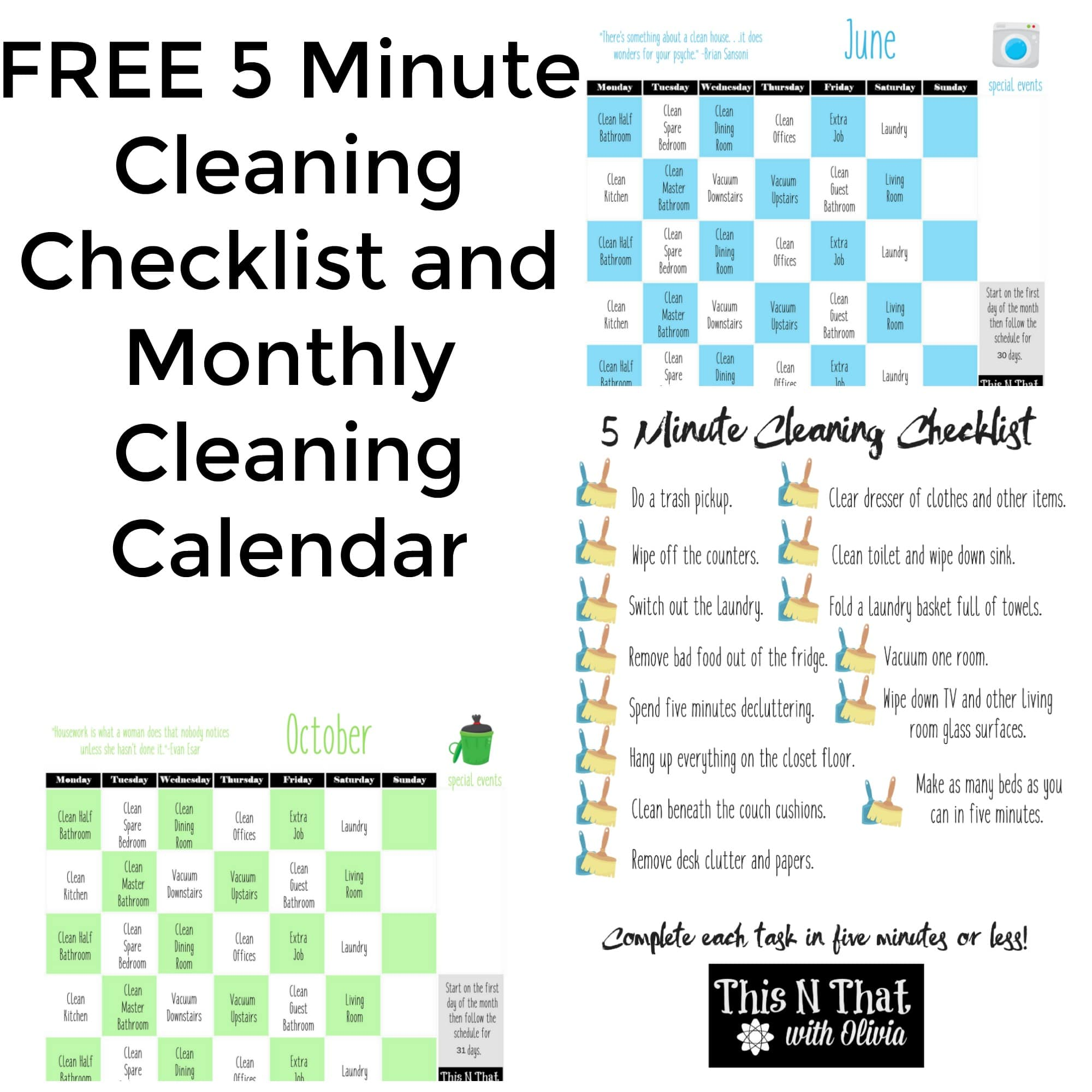mix free 5 minute cleaning checklist monthly cleaning calendar