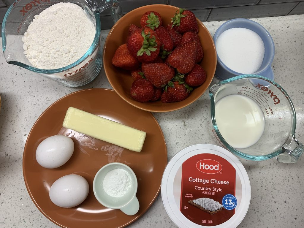 Ingredients needed for Strawberry Muffins