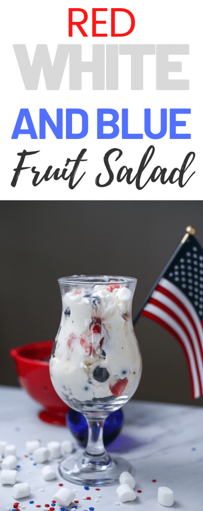 This delicious fruit salad is red, white and blue which is perfect for celebrating the freedom of the USA!