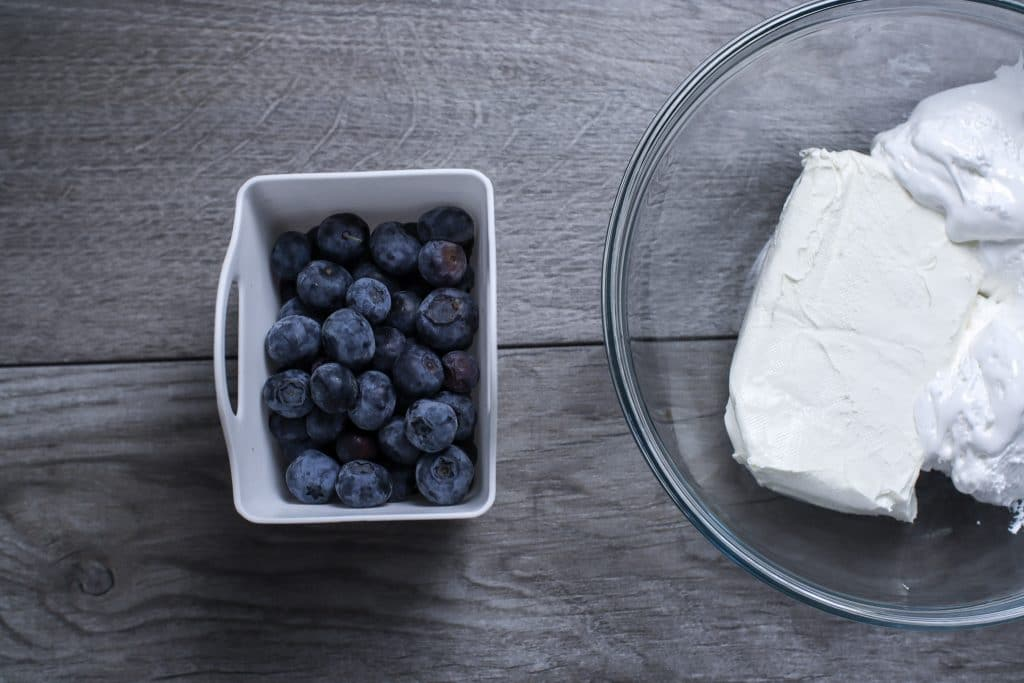 Blueberries and cream cheese for the red, white and blue fruit salad.