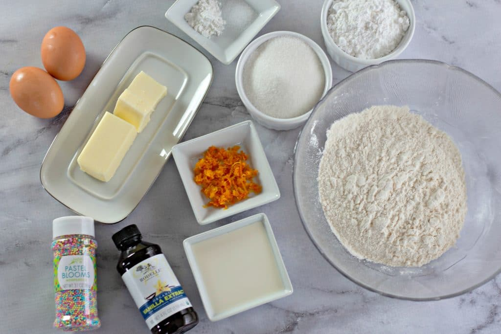 Ingredients needed for Orange Zest Sprinkle Cookies
