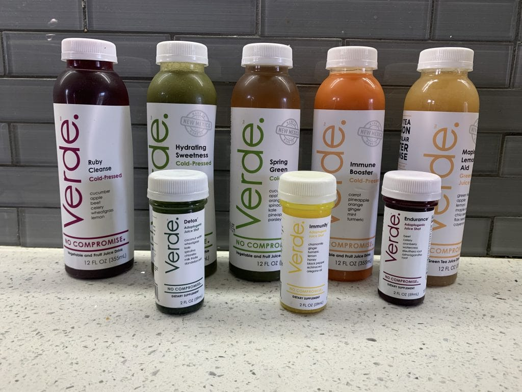 Variety of cold-pressed juice and shots