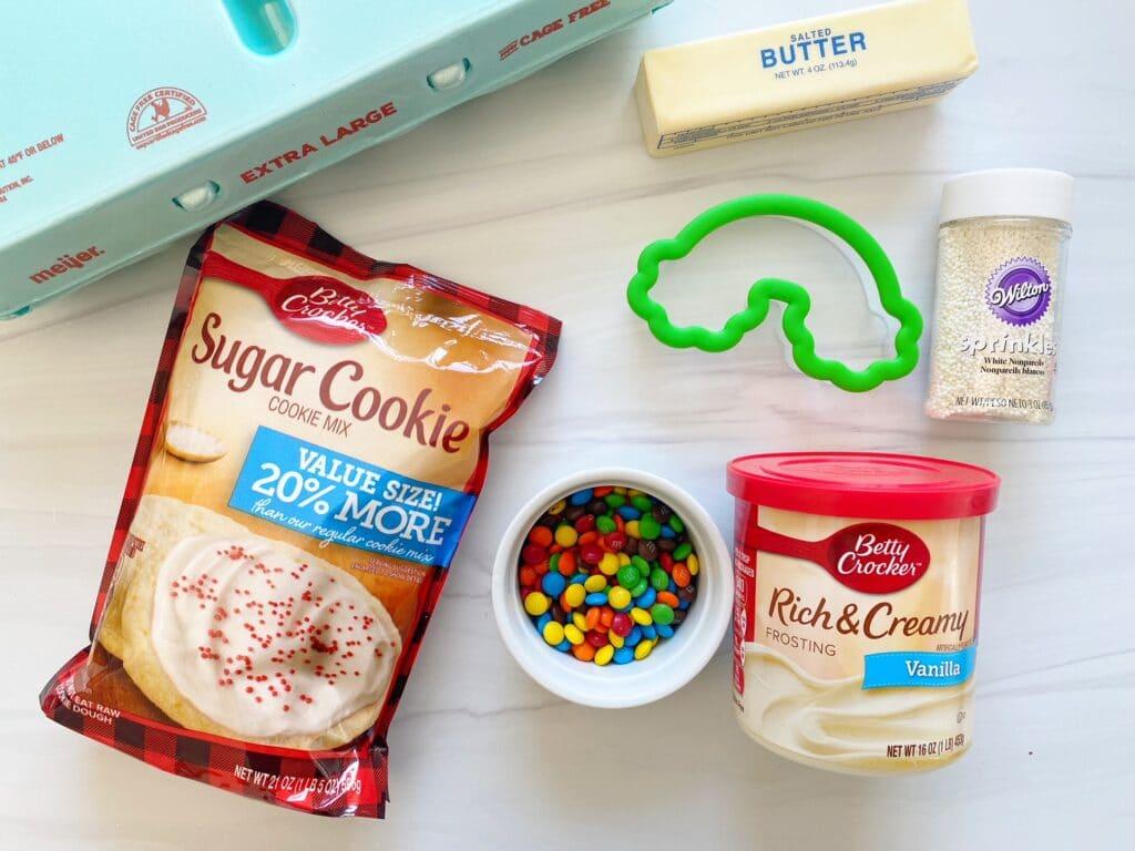 Ingredients needed for Rainbow Sugar Cookies